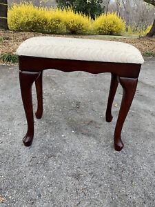 Queen Anne Style Wood Vanity Stool Bench Chair The BOMBAY COMPANY 1988