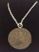 "Ant Pius Roman Coin WC24 Made In English Pewter On 16"" Silver Plated Necklace"