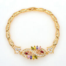 Fashion Women 18K Gold Plated Multicolor CZ Zircon Bracelet Jewelry Gift Party