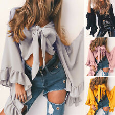 Womens Ladies Crop Tops Summer Frill Falbala Flare Sleeve tops Party Blouse New