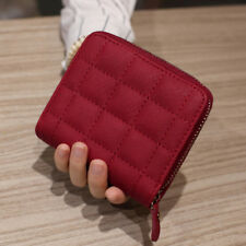 Women Leather Square Zipper Purses Lattice Wallet Pouch Mini Bag Card Holders