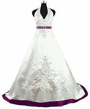 2014 New Halter Satin White Wedding Dress Bridal Gown Custom Made Size 2-20