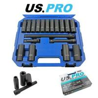 """US PRO Tools 18PC 1/2"""" DR Deep impact Sockets 10 - 24mm And Extension Bar Set"""