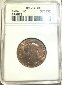 France 5 Centimes 1906 - ANACS MS63RB - Belle Epoque Seated Liberty!!