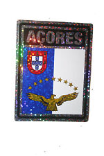 AZORES COUNTRY FLAG  METALLIC BUMPER STICKER DECAL .. 4 X 3 INCH