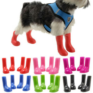 Waterproof Pet Dog Rain Boots Protective Anti-Slip Wellies Booties Sock 4pcs/set