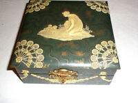 Vintage Celluloid Trinket Box Lady and Dog Flowers