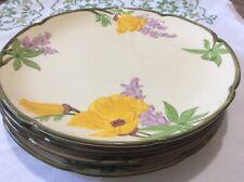 "Vintage Franciscan Yellow Poppy & Purple Dinner Plates 10 1/8 ""Set Of 4 Great Co"