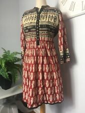 Indian Style Batik Print Brown Red Kaftan Dress LARGE