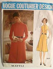 Vtg Vogue 1970's Sewing Pattern #2620, Designer Mattli, Size 12, Dress, Used