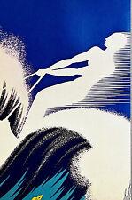 Erte 1972 Ltd. Edition - SUMMER FUN 1935 - Water Skiing - Art Deco Print Matted