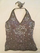 Aftershock Beaded Halter Top Bustier Lace up Back Gray *L@@K* Size L NWT
