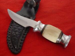 """Unbranded 6-1/2"""" Bone Fixed Blade Hunting Sheath Knife"""