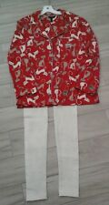 Soma Women Red Multi Color Cat Print Long Sleeve Knit Pajama Set         Size L