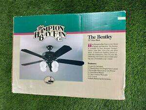 "VTG Deadstock The Hampton Bay THE BENTLY 52"" Ceiling Fan Gloss Black"