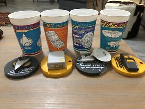 Star Trek: Next Generation SET of FOUR CUPS with TOYS on Lids Pizza Hut 1994 NEW