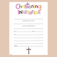 Girls Christening Invitations Includes Invite Slips & Envelopes. Pack Of 20