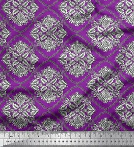 Soimoi Cotton Poplin Fabric Damask,Leaves & Floral Block Fabric-6iu