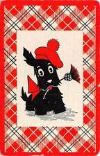 Scottie Dog Hat Flower Single Swap Playing Card Vintage