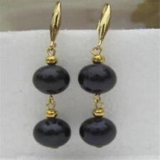 ab28823a7416 AAA 9-10mm Negro Perla Pendiente De Oro 14K aretes de perlas natural del  Mar del Sur