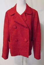 Talbots Double Breasted Jacket Blazer Women's L Red Floral Brocade Big Buttons