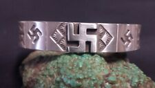Navajo Whirling Log  Stamped Sterling Silver Cuff Bracelet