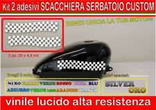 kit 2 adesivi SCACCHIERA, serbatoio moto, custom, 883, 1200, race, tuning