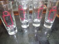 Jose Cuervo Tequila Mexico Set of 4 Shot Glasses 4 inch Red & Black trim