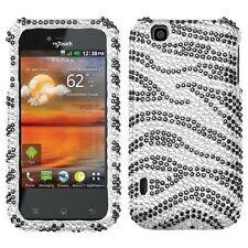 For T-Mobile LG myTouch Crystal Diamond BLING Hard Case Phone Cover Black Zebra