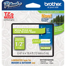 Brother TZeMQG35 12mm white on lime green P-Touch tape PT H100 P700 2030VP 2030