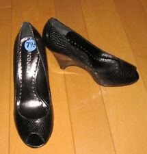 New BCBG Wms Black Leather Wedge Peep-Hole Heels 7.5