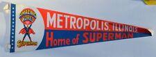 Metropolis IL HOME Of SUPERMAN Large PENNANT 1971 Amazing World of Superman