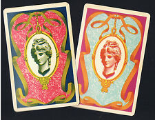 Playing Swap Cards   2  VINT   LADY IN CAMEO & FANCY FRAME  PLASTIC  L@@K  W249