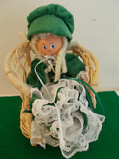 Cute Vintage Doll with Parasol in Wicker Chair