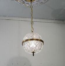 Antique Vintage Chandelier Petite Cut Crystal  Ball Pendant Bronze Ring