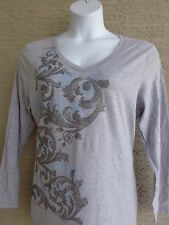 New Hanes Glitzy Graphic Cotton Blend L/S V Neck Tee Shirt XL Heth. Gray