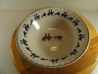 """Royal China Blue Ducks With Red Bow Ties Serving Bowl 9-1/8"""" x 3"""" Fluted Rim"""