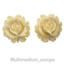 Antike Silber Ohrringe Bein Rose wohl Erbach 30er Jahre silver earrings bone