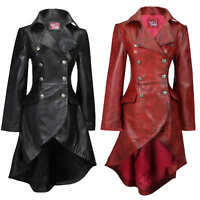 Ladies Real Leather Black Gothic Jacket Fitted Victorian Style Lace Back Coat