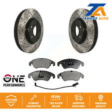 2009 For Audi A4 Quattro Front Cross Drilled Slotted and Anti Rust Coated Disc Brake Rotors and Ceramic Brake Pads Note: 320mm Rotor Dia Stirling