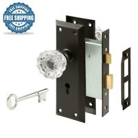 Vintage Bronze Interior Door Lock Knob Handleset Glass Knob Home Security NEW