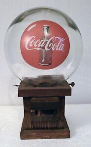 "Vintage Coca-Cola Glass Globe Wood Base Gumball Candy Peanut Dispenser 13"" Tall"