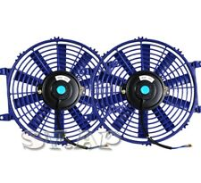"Universal 2X 9"" Slim/Thin Push/Pull Electric Radiator/Engine Cooling Fan Blue"