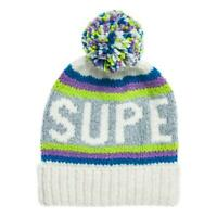 Superdry Fluo Bonnet - Hiver Blanc Rayure Neuf