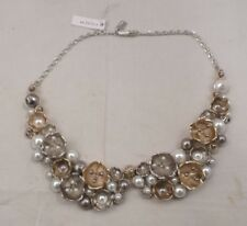 NWT COACH TEA ROSE PEARL GOLD SILVER MULTI CLUSTER NECKLACE 91000