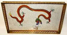 RARE OLD CHINESE BRONZE CLOISONNE WHITE ENAMEL FIRE DRAGON TRAY