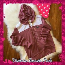 New VICTORIA'S SECRET Pink Campus Ultimate Full Zip Soft Begonia Palm Hoodie Med