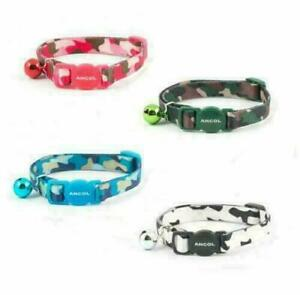 Ancol Camouflage Cat Collar with Bell ,Safety Buckle in Black, Pink, Blue, Green