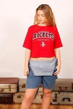 vintage cropped red black & white Houston Rockets NBA t-shirt