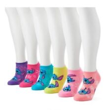 Disney Women's Ladies Lilo And Stitch 6 Pair No Show Socks Assorted Bright NWOT